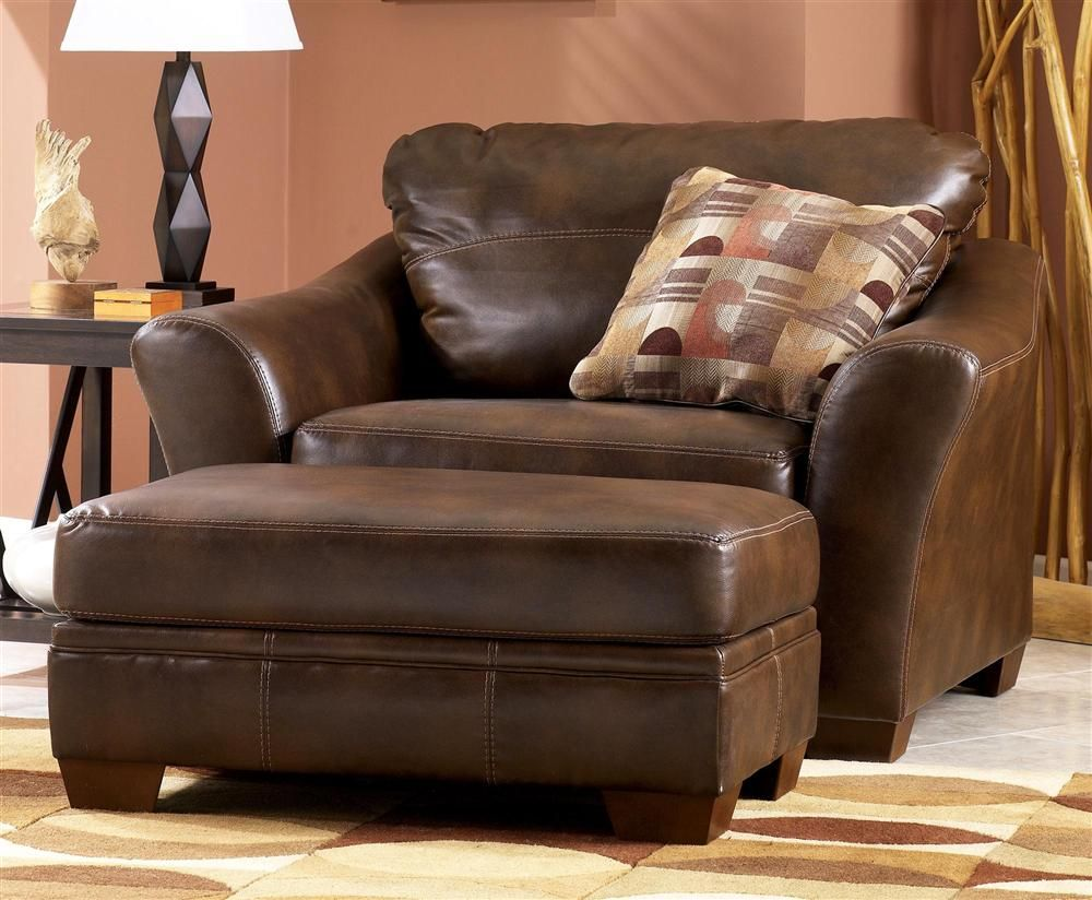 Signature Design By Ashley Chair And Half W Ottoman Set In Sedona Living Room Leather Oversized Chair Living Room Leather Chair Living Room
