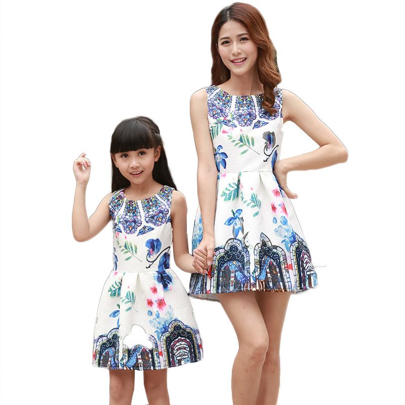 140f855e20 Vintage Style Sleeveless New Printed Family Matching Mother And Daughter  Look Dresses Summer Party Clothes Mom