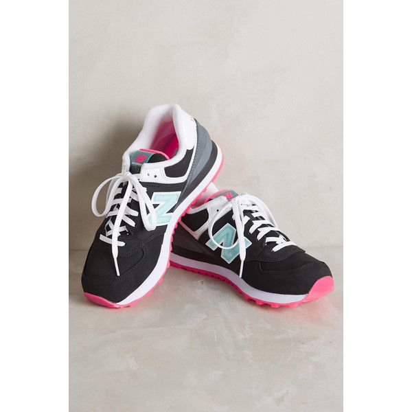 New Balance 574 Sneakers (€72) ❤ liked on Polyvore featuring shoes, sneakers, black, new balance trainers, black trainers, nubuck shoes, kohl shoes and synthetic shoes