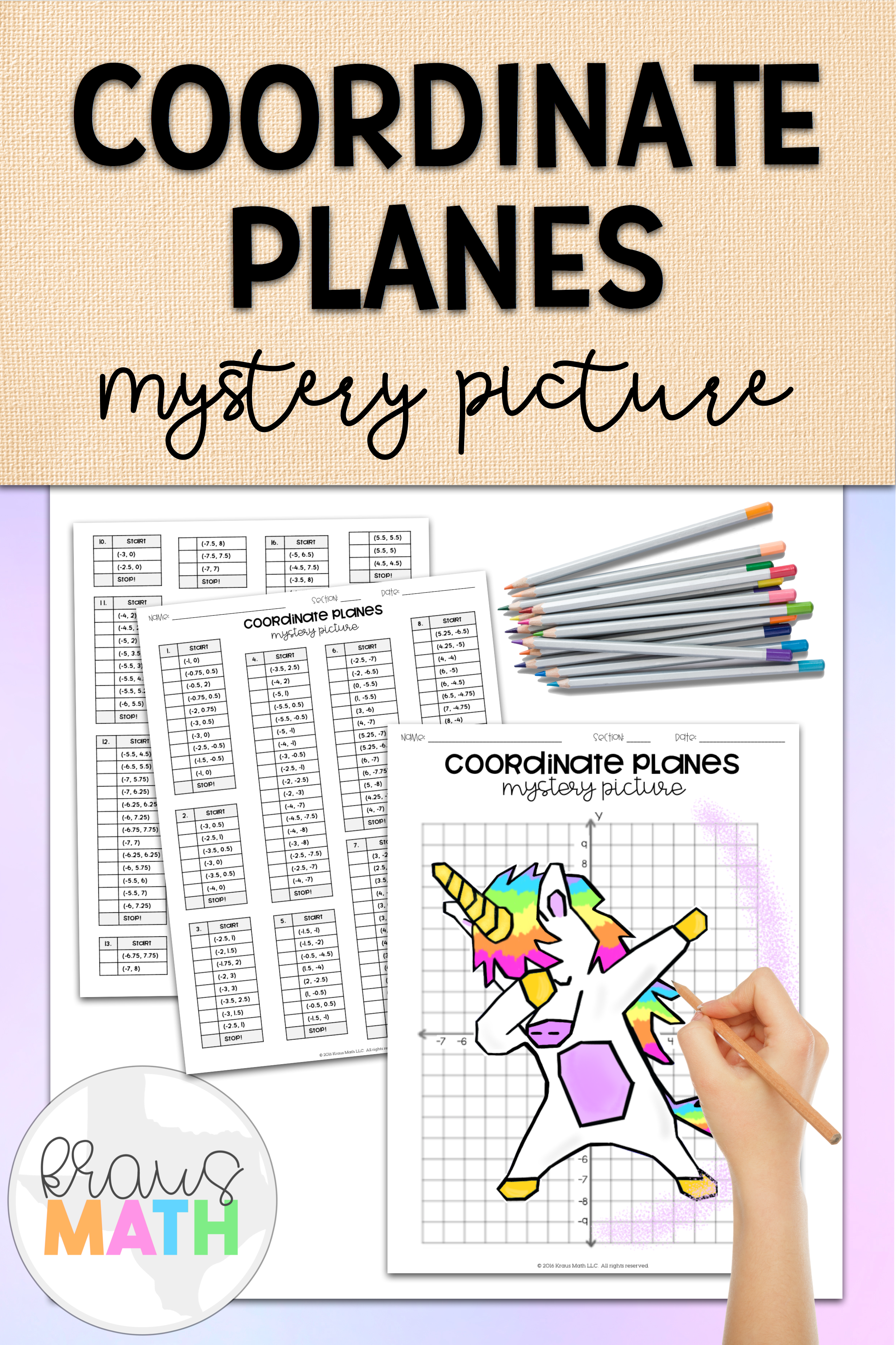 Unicorn Dab Coordinate Plane Mystery Picture (4 Quadrants)   Coordinate  plane graphing [ 3750 x 2500 Pixel ]