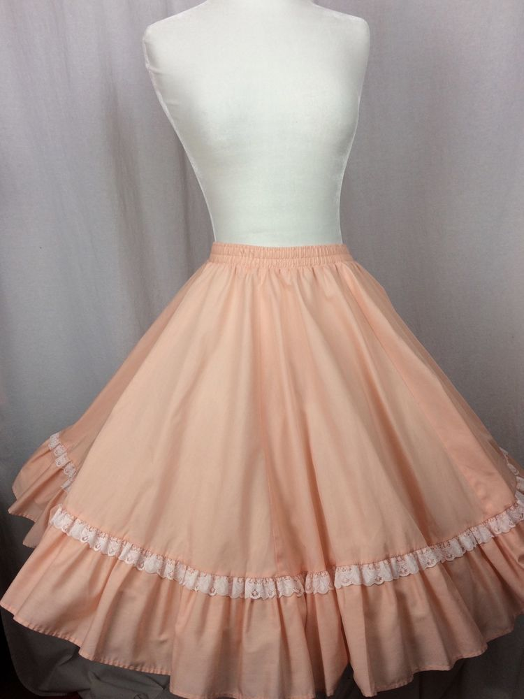 94636da7b5 SQUARE DANCE SKIRT Malco Modes Partners Please Peach w White Lace Size S   MalcoModes