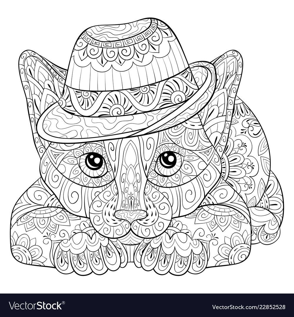 Adult Coloring Bookpage A Cute Cat Image For Vector Image On Vectorstock In 2020 Cat Vector Adult Coloring Adult Colouring Printables
