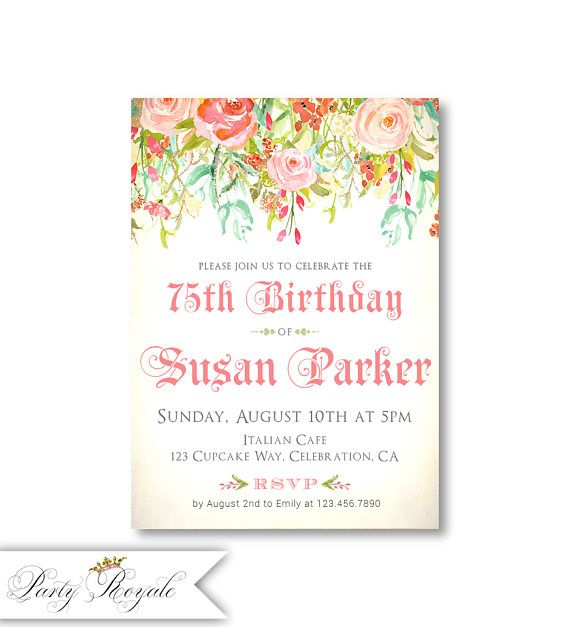Womens 75th Birthday Invitations For Her Milestone
