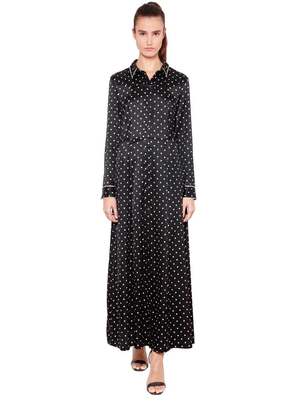 GANNI POLKA DOT SILK SATIN SHIRT DRESS. #ganni #cloth # | Ganni ...