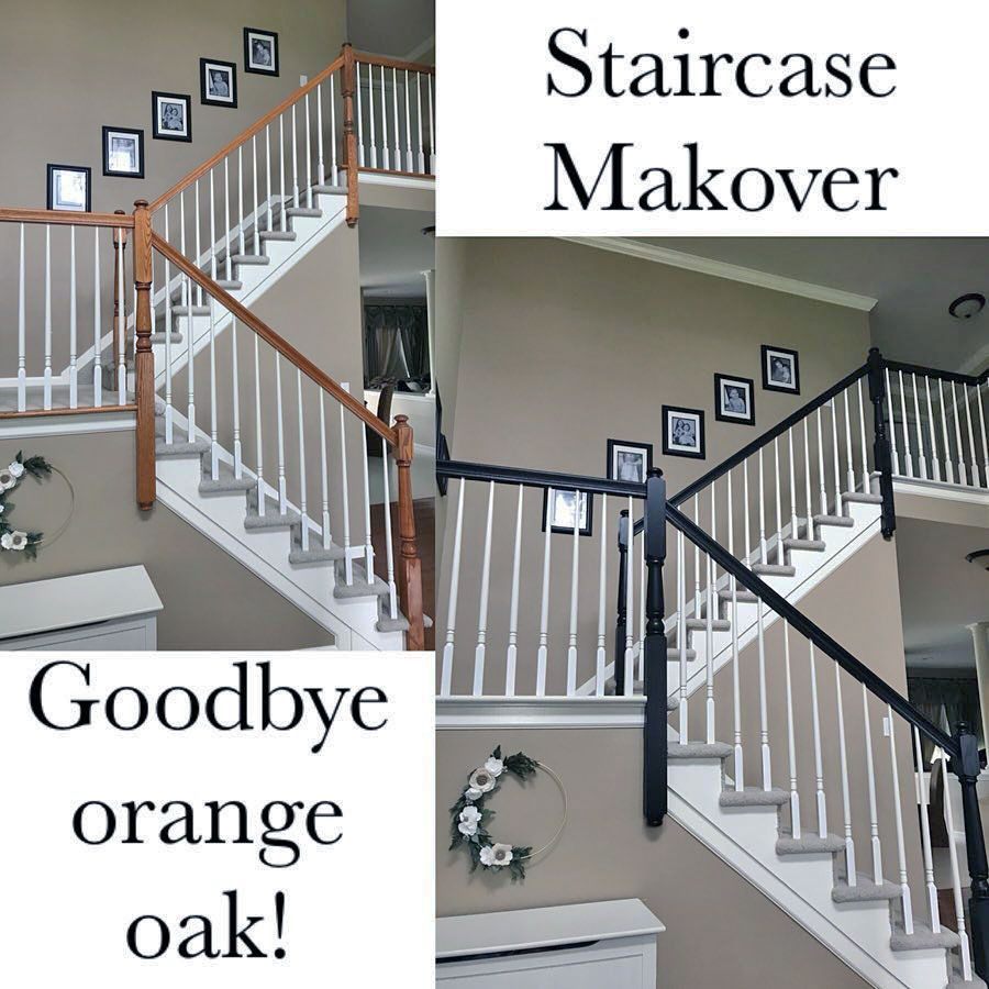 Stair Designs Railings Jam Stairs Amp Railing Designs: Lamp Black And Antique White Staircase Makeover