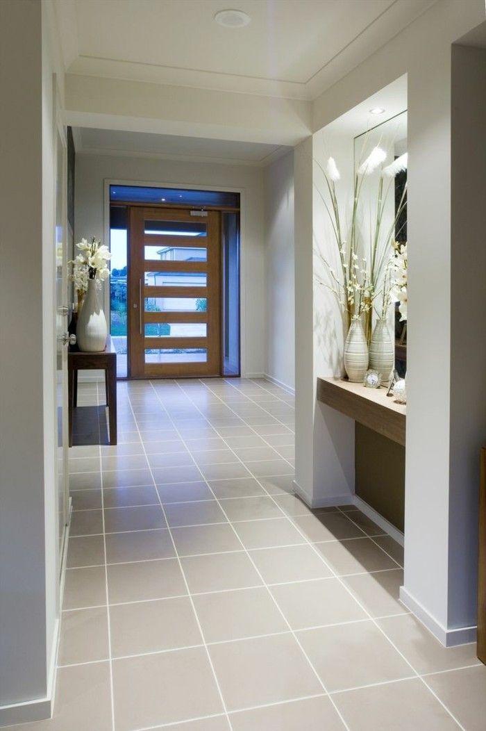 Gestaltungsideen Flur fliesen für flur großer spiegel holztür - fliesen küche modern