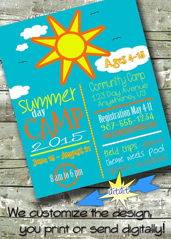 summer community camp flyer event poster digital by