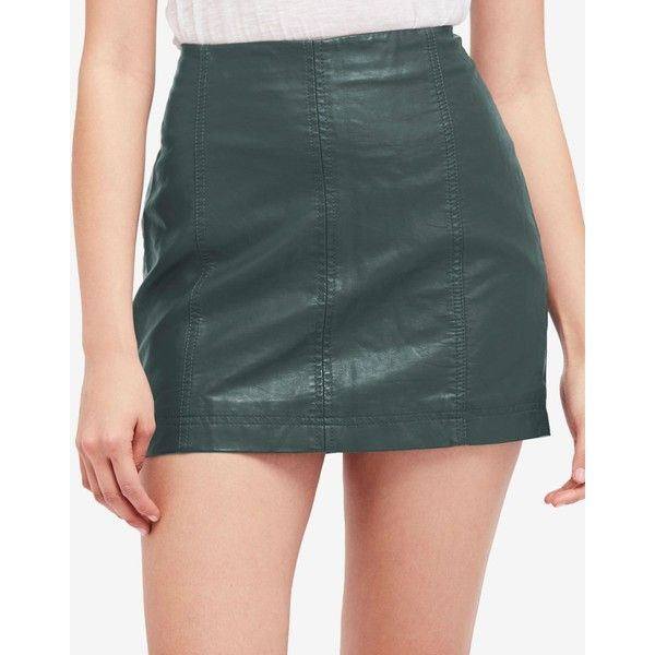 a40d7c3525 Free People Modern Femme Faux-Leather Mini Skirt ($60) ❤ liked on Polyvore  featuring skirts, mini skirts, green, back zipper skirt, faux-leather skirts,  ...