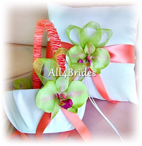 coral and lime green wedding | Coral and green orchids ring bearer pillow and flower girl basket ...