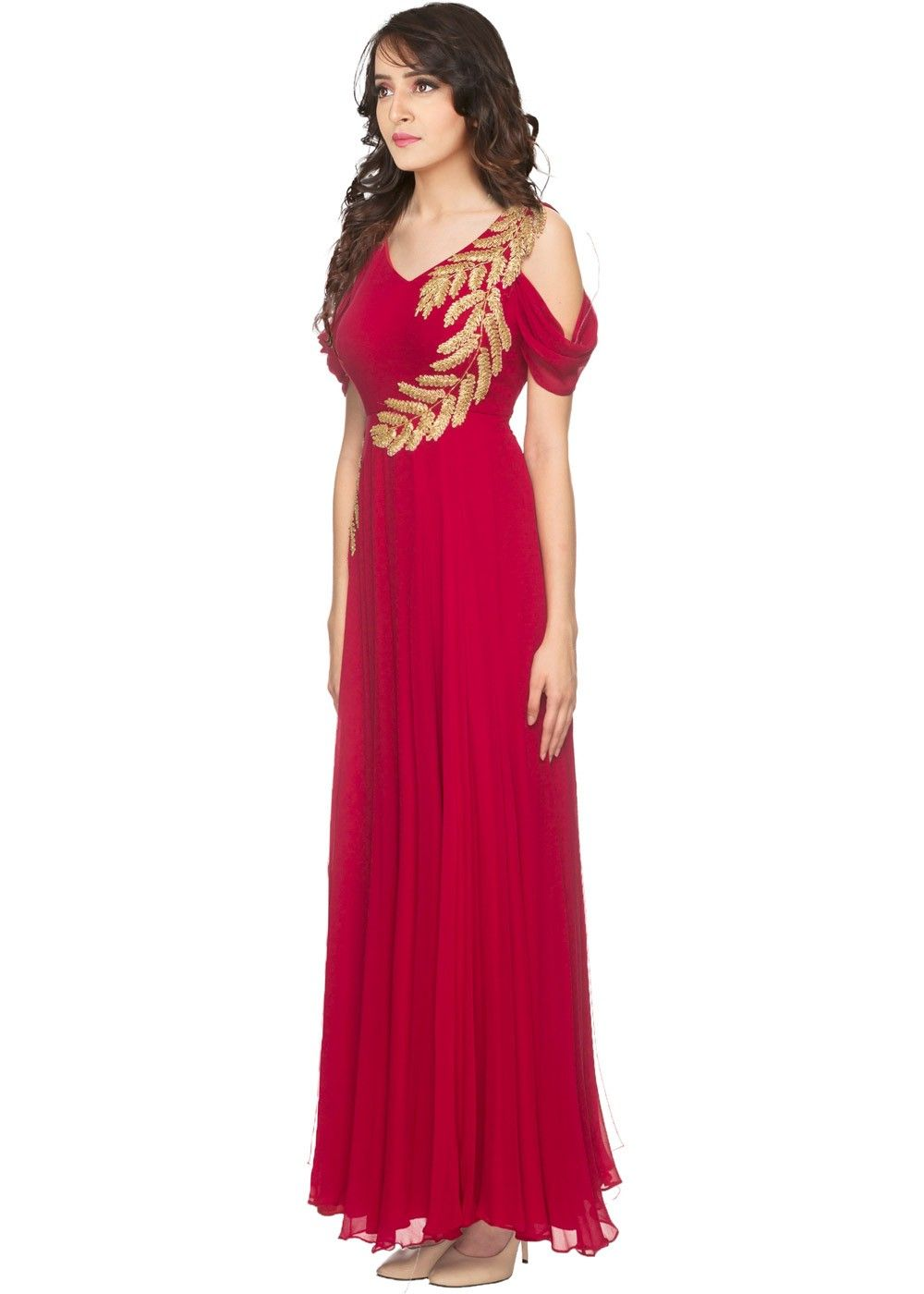 88aab8ef8ae26 Indian Gowns Online  Buy Readymade Red Georgette Indo Western Gown