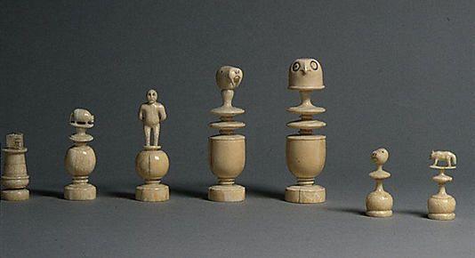 "Chessmen (32) Date: ca. 1885 Culture: Eskimo (Franz Joseph Land) Medium: Walrus ivory Dimensions: King: 4 1/16"", queen: 4 1/4""; bishop: 3 5/16"", knight: 2 3/4"", rook: 2 1/16"", pawn: 2"""