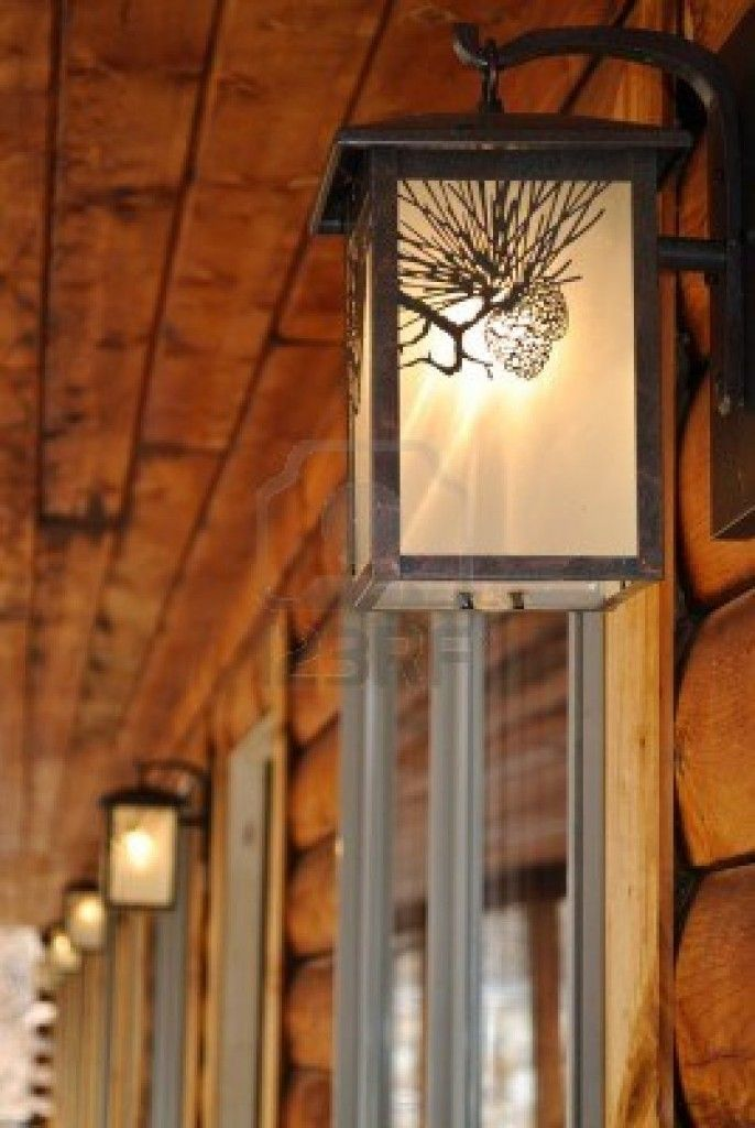 Outdoor Lighting Fixtures At A Log Cabin Motel Pbstudiopro