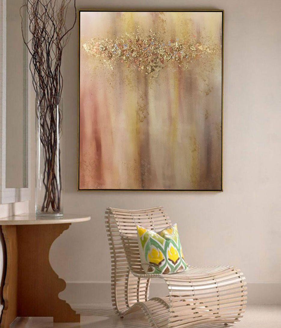 Pintura abstracta oro pintura óleo hoja de oro original pingur