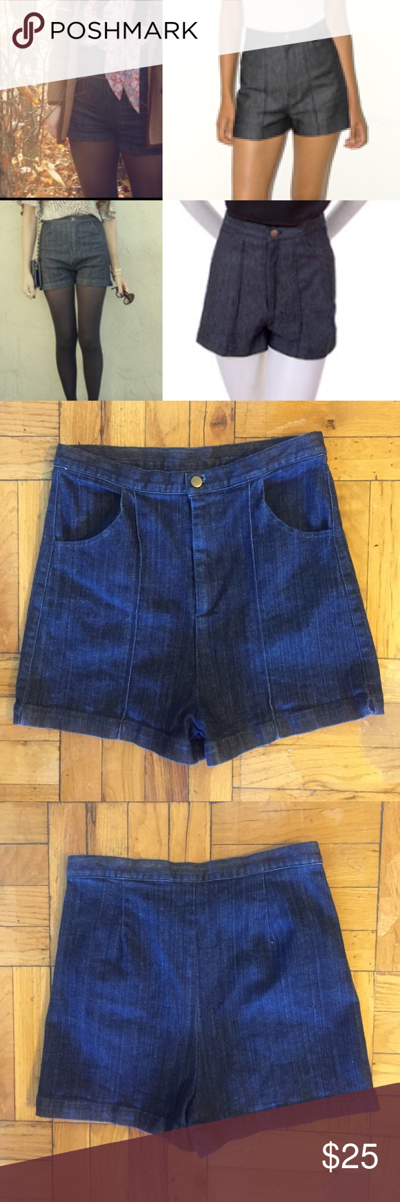 UO Super High Rise Jean Shorts, Fletcher by Lyell Urban Outfitters Super High Rise Jean Shorts.  Brand is Fletcher by Lyell. Great looking shorts!Dark indigo. 98% cotton, 1% spandex. Worn a small handful of times, and in excellent condition. I can provide measurements upon request. Urban Outfitters Shorts Jean Shorts