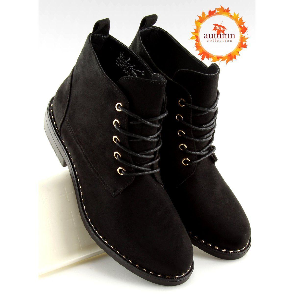 Polbuty Sznurowane Czarne T210 Black Shoes Womens Boots Flat Boot Shoes Women