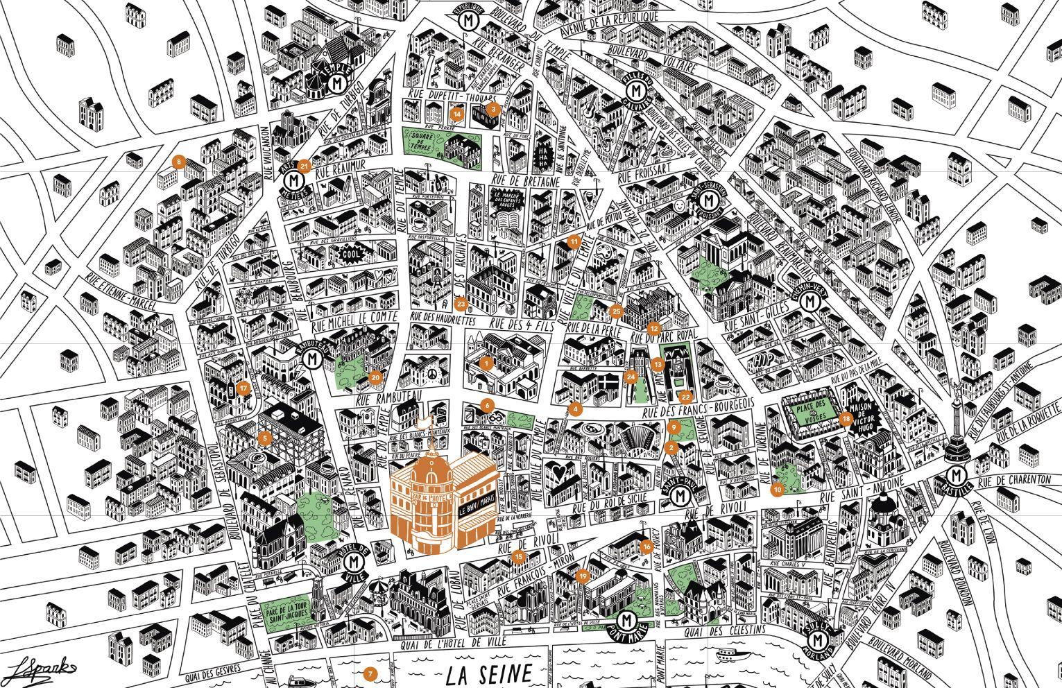 paris 3e et 4e map of the marais with 25 hot spots in the quarter found on httpwwwbhvfrplan marais