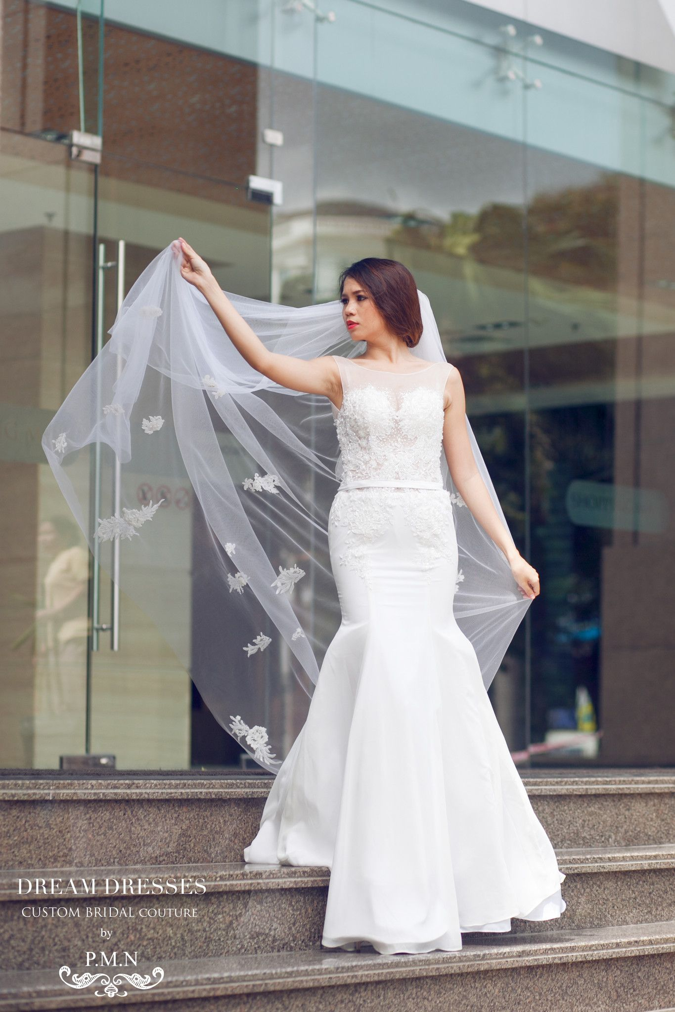 SAMPLE SALE /Two Tier Floor Length Bridal Veil with Lace Appliques and sequins (#PB107)-Ready to Ship $60