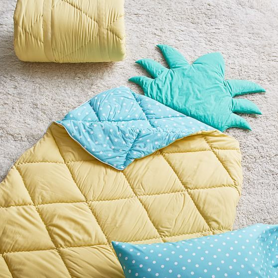 Shaped Sleeping Bag + Pillowcase, Pineapple | PBteen
