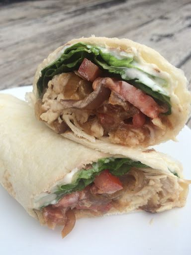 Caramelized Onion Turkey Wrap with Garlic Aioli