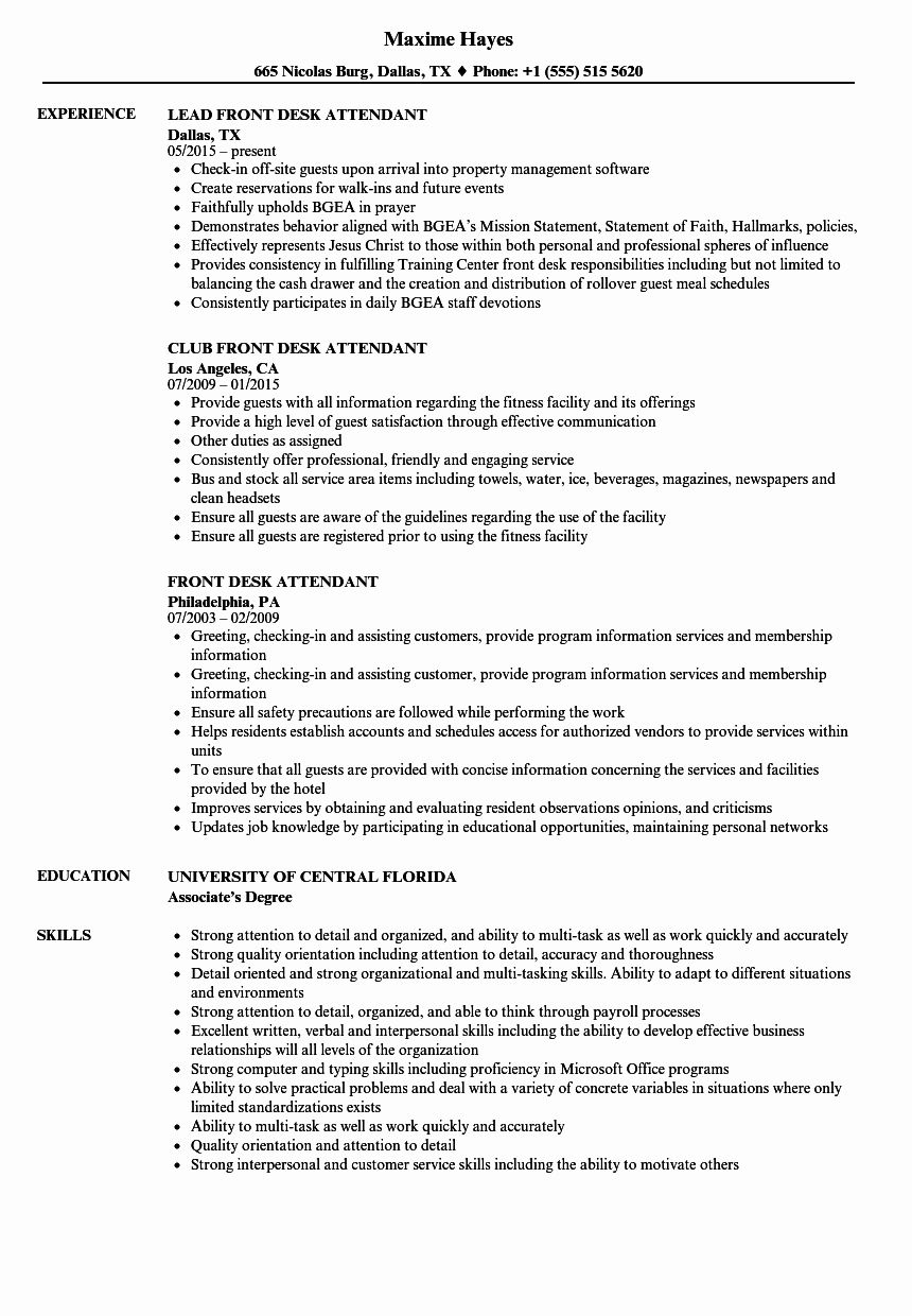 20 Front Desk Manager Resume in 2020 (With images) Job