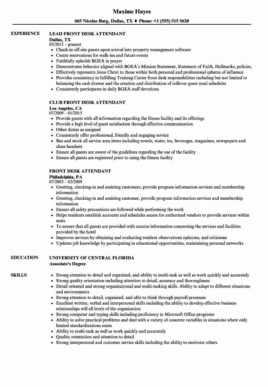 front desk resume skills example