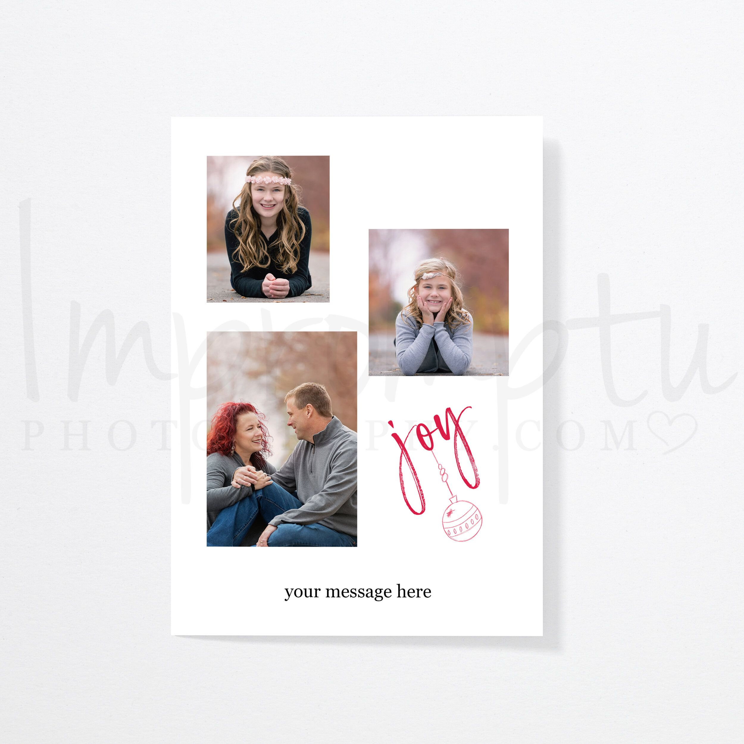 5x7 Joy Christmas Card Template 3 Opening Front Christmas Card Template Joy Christmas Card Card Template
