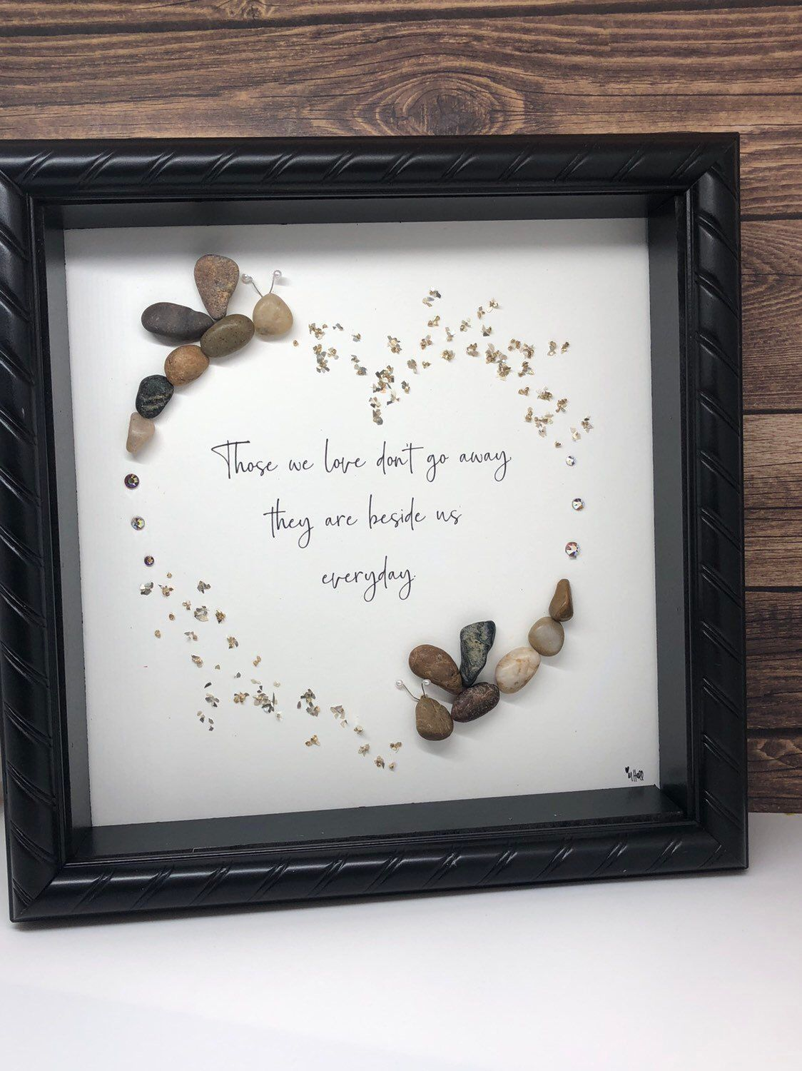 Photo of Pebble Art / Unique gift / Dragonflies / in memory / loved one / Remembrance / Home Decor / Christmas / condolences / Ocassion / Wall decor