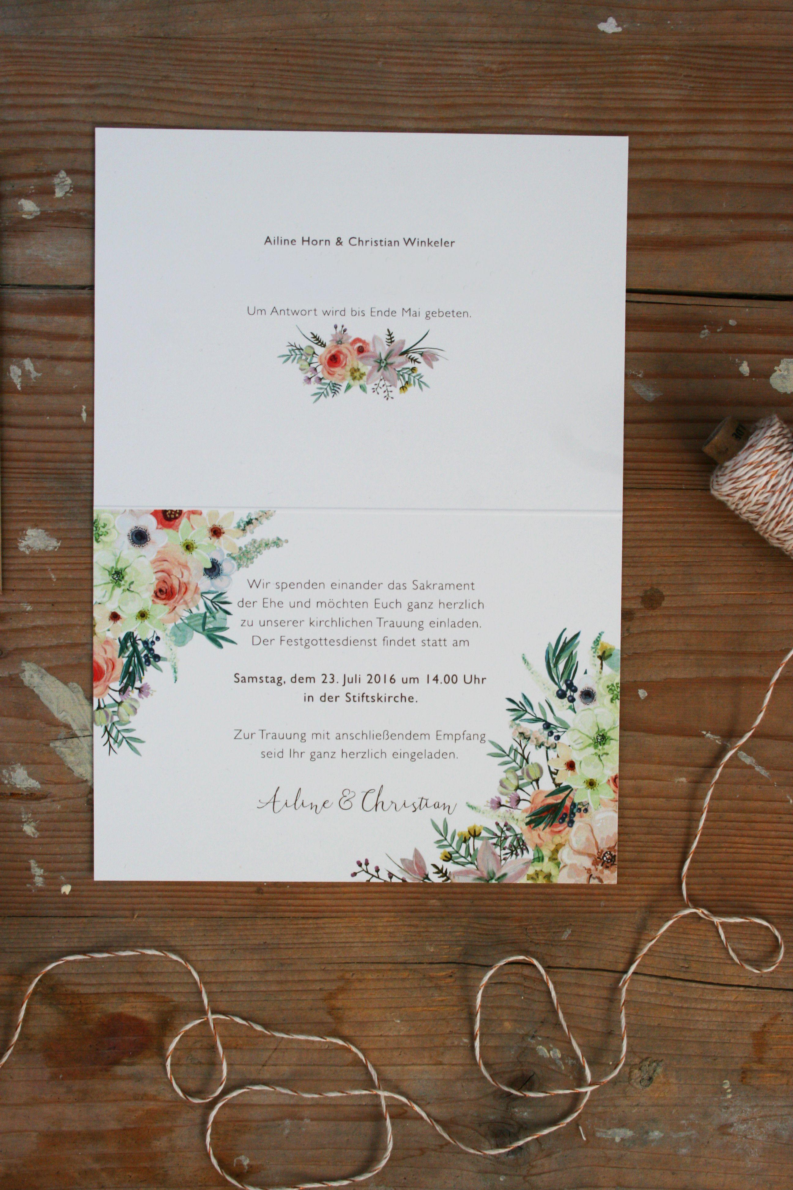 Hochzeitseinladung U201eWilde Blumenu201c Set Aus: Einladungskarte Mit Passendem  Umschlag, Konfetti Und Fähnchen