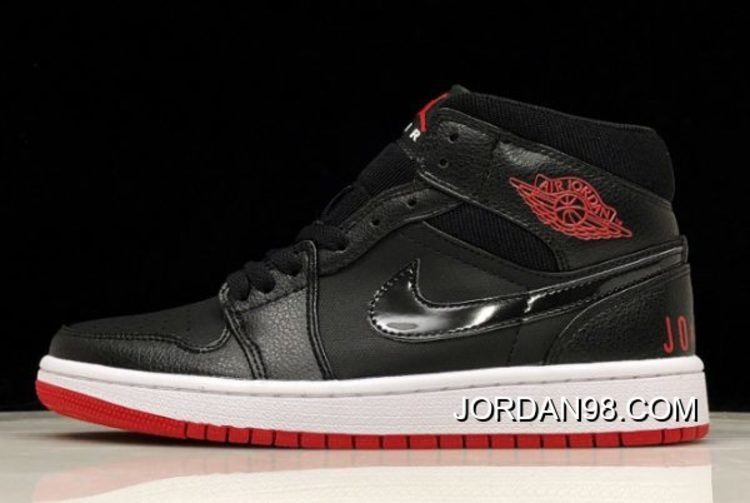 Air Jordan 1 Mid Premium Bred Black University Red White Bq6578