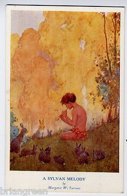 Margaret Tarrant artist signed Postcard - Boy playing whistle to rabbits