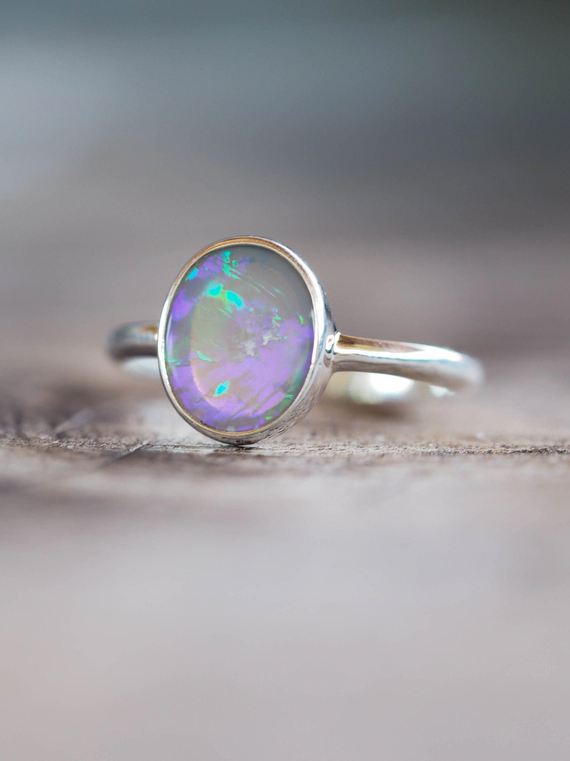 October Birthstone Ring Christmas Gift Blue Opal Gemstone Ring Oval Cut Opal Blue Gemstone  Ring Solitaire Ring With Side Accent Stone