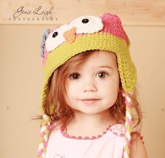 Baby Girl Owl Hat Pink and Green Beanie Crochet Photo Prop Pink Green Gift $23