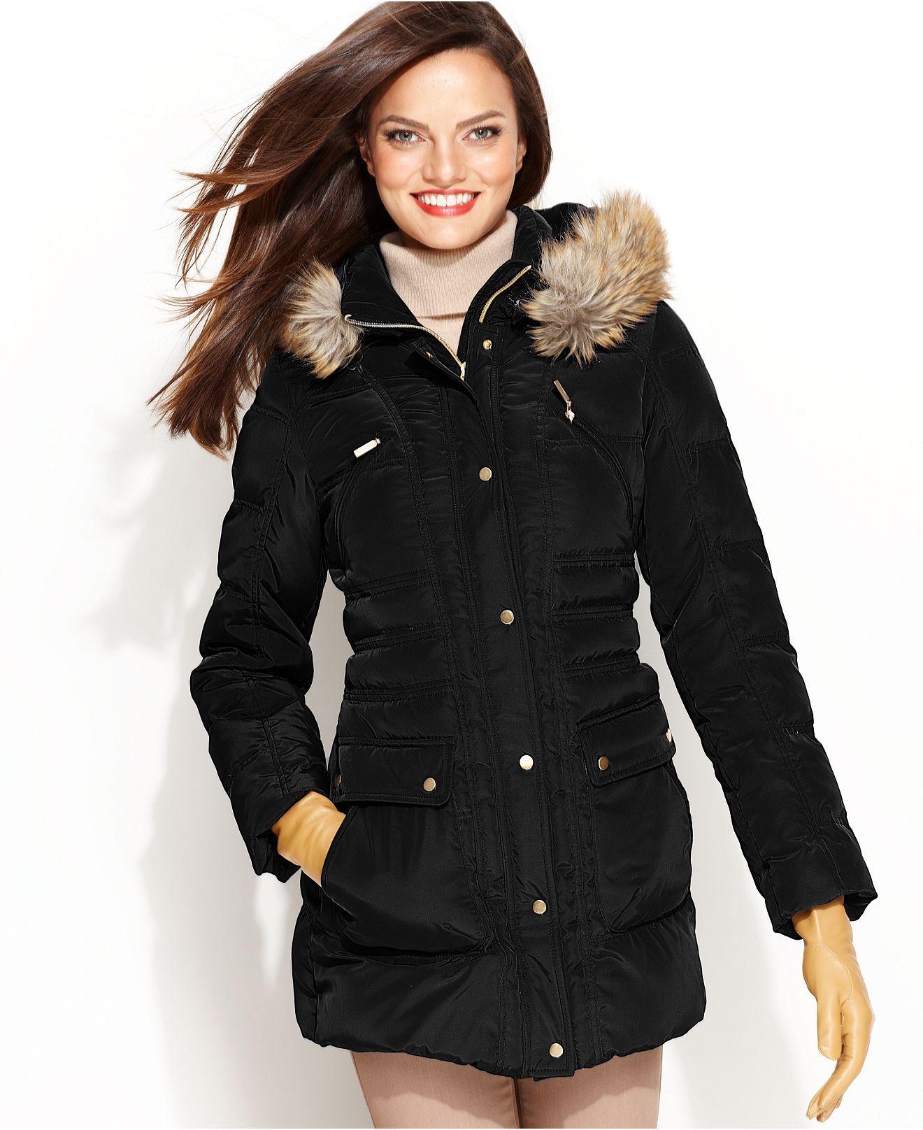 Jones New York Coat, Faux-Fur Hooded Utility Puffer