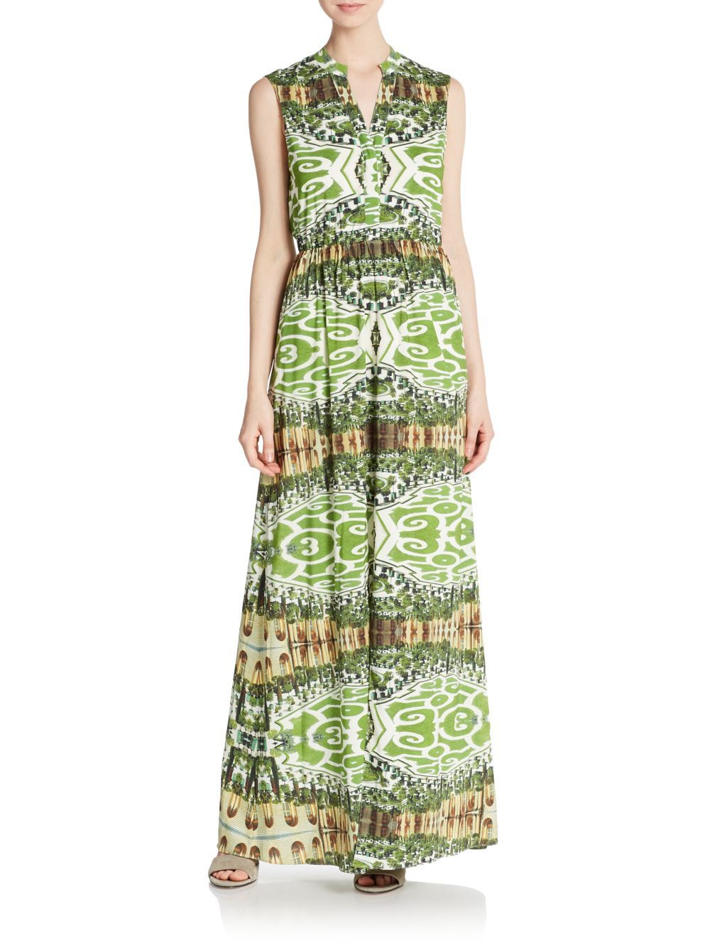 Alice And Olivia Green Print Dress Mixed Maxi In Abstract Garden