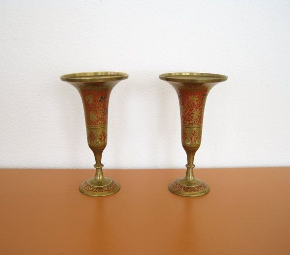 Pair Of Vintage Indian Brass Vases By Behindtheorangedoor On Etsy