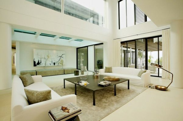 exotisches Haus Design - großes weißes Wohnzimmer - großes bild wohnzimmer