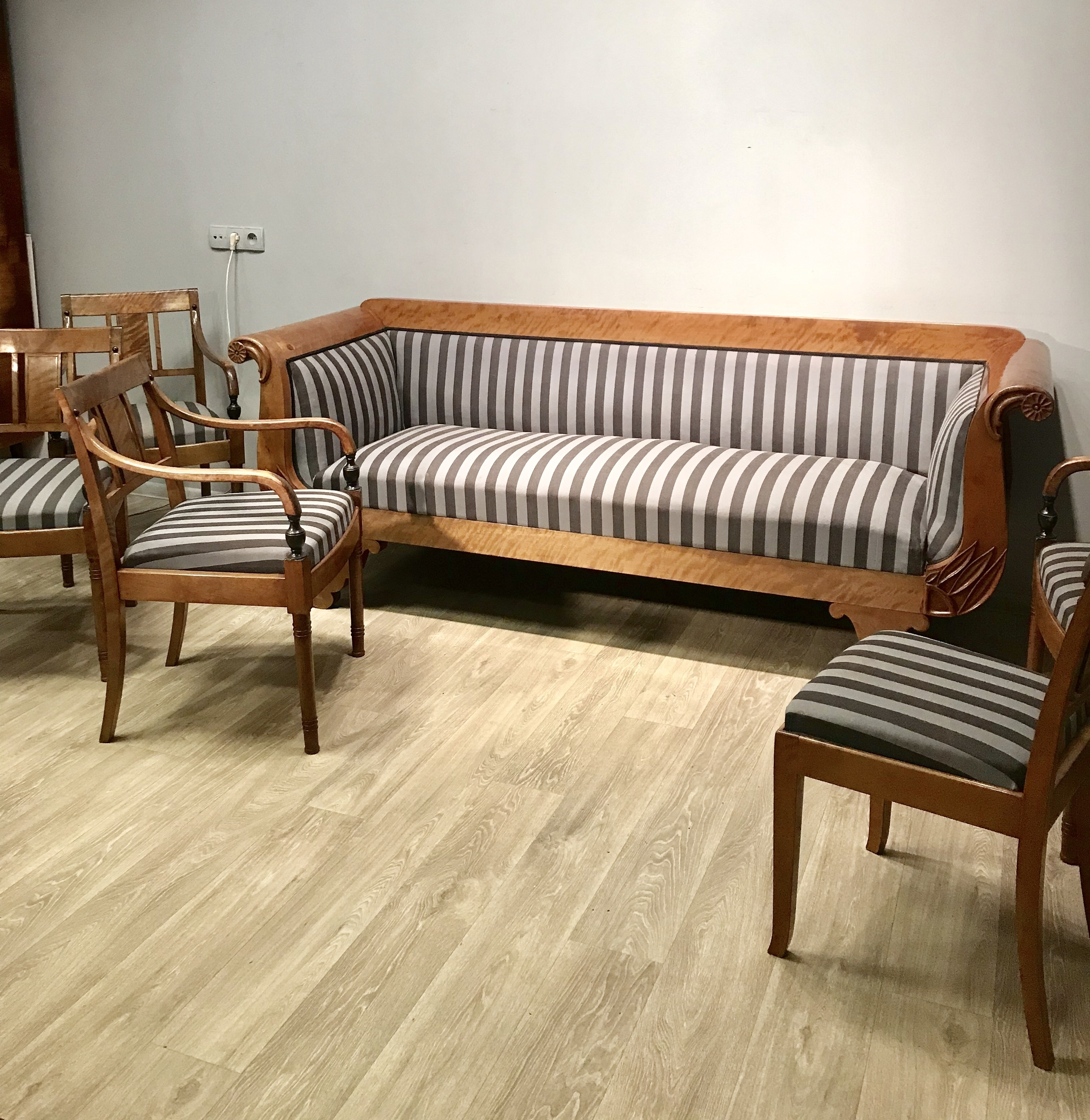 An Antique Sofa Set And Six Chairs The Beginning Of The Century