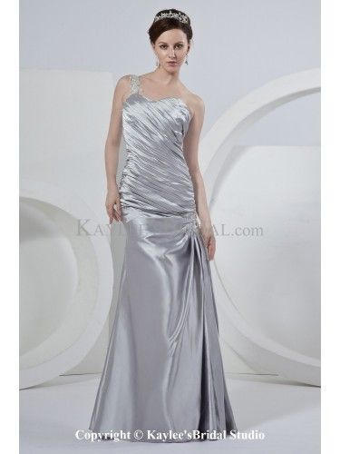 Satin One-Shoulder Floor Length Sheath Wedding Dress with Ruffle