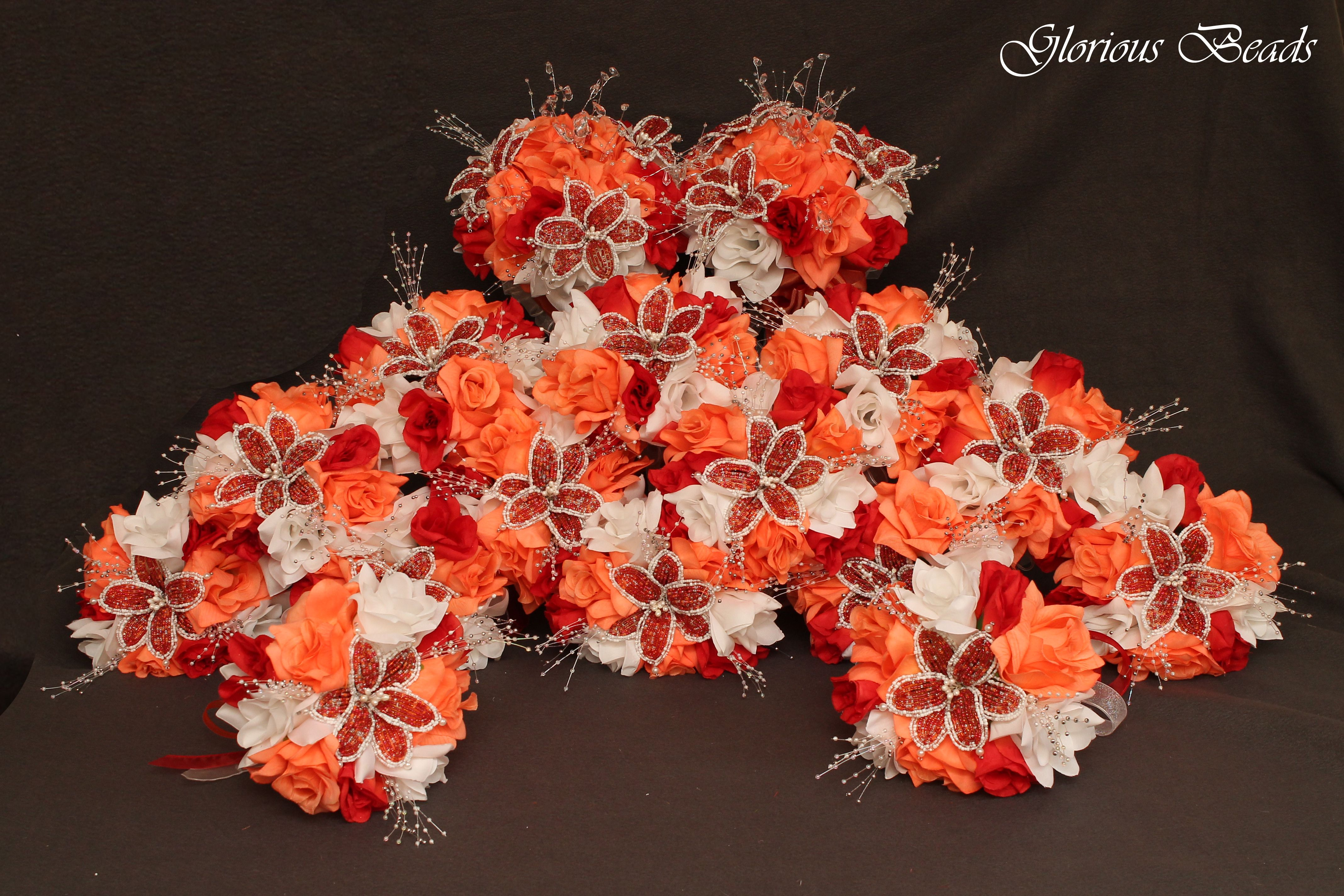 Large double Quinceañera! Beaded Coral, and Red bouquets