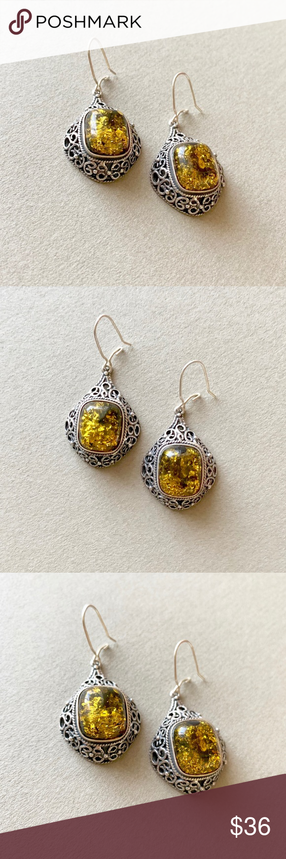 Beautiful Sterling Silver With Amber Earrings Never Worn