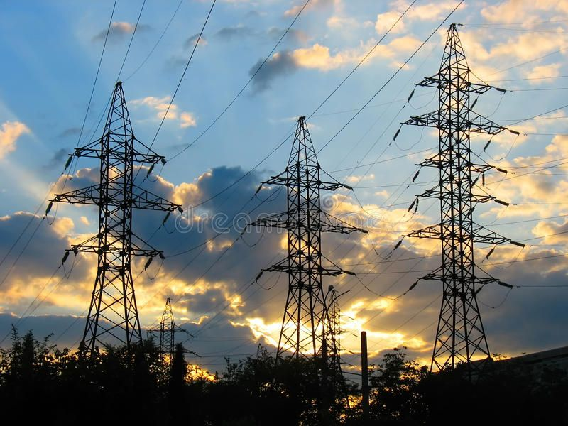 Electric Power Transmission Lines at Sunset Electric Power Transmission Lines a