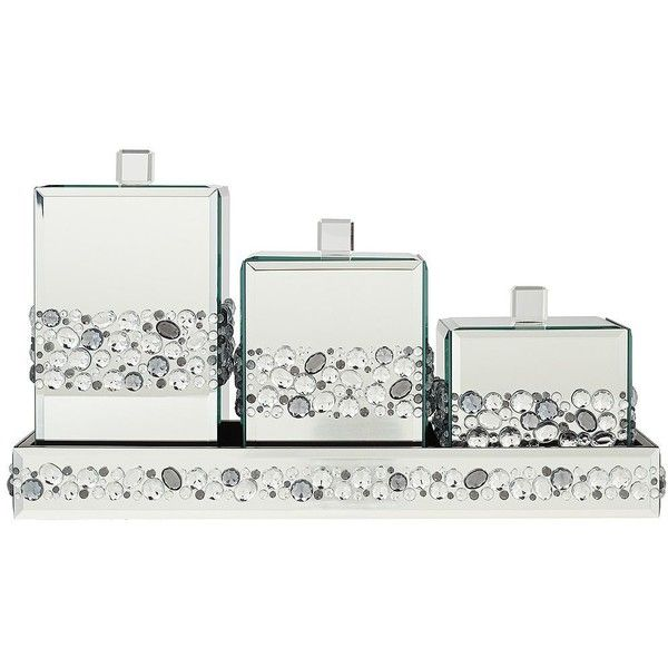 Jeweled Mirror Canisters 4 Piece Bathroom Accessory Set   #X0097 ($90) ❤