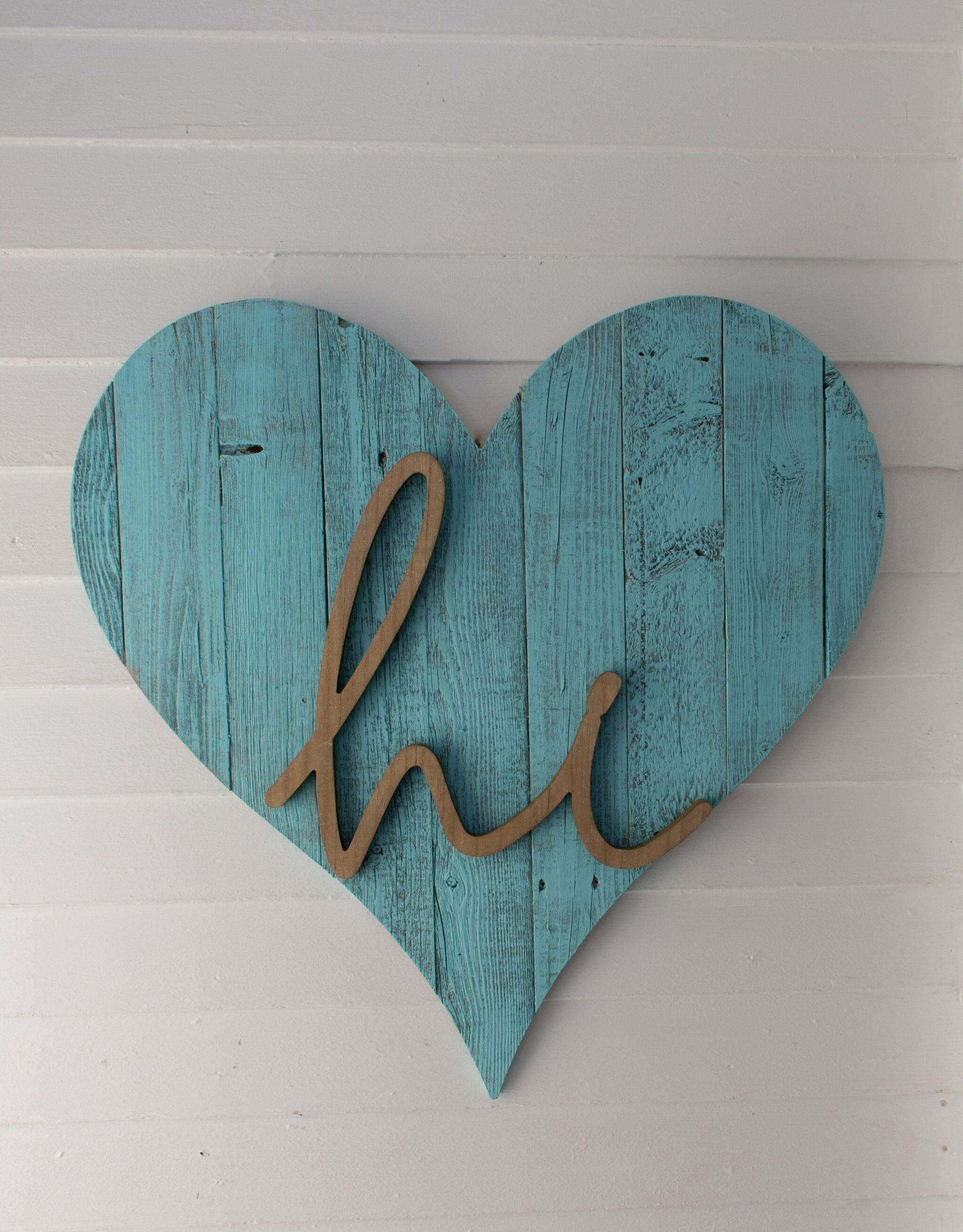 Photo of 18″ Rustic Farmhouse Turquoise Wooden Heart