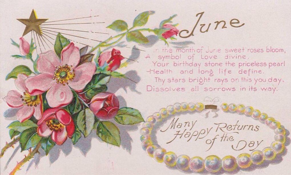 June Happy Birthday Greetings Postcard 1908 Pearl Rose Flower Antique Nash