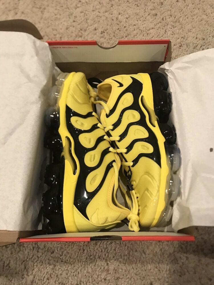58bd99d191 Brand New in Box Mens Nike Air Vapormax Plus 9.5 Opti Yellow Black Bumblebee  #bumblebeemovie #bumblebee #transformers