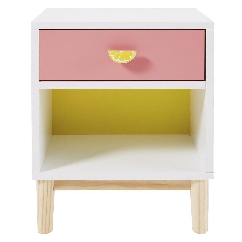 Table De Chevet Enfant Blanche Rose Et Jaune Maisons Du Monde Pink Bedside Tables Childrens Bedside Table Kids Bedside Table