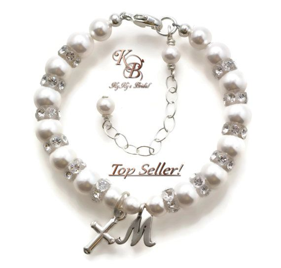 beaded engravable diamond crystal pearls white baby christening children babies heart cross baptism bracelet designer charm s for