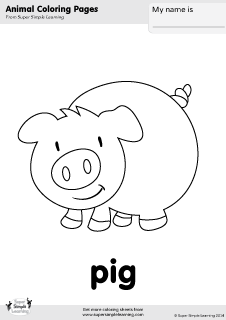 tons of free farm animal worksheets and flashcards at wwwsupersimplelearningcomresource room kindergarten prek esl free pig coloring page