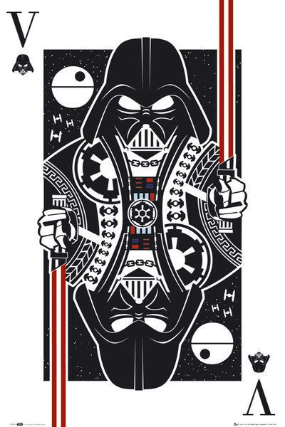 star wars - movie poster / print (darth vader playing card) (size