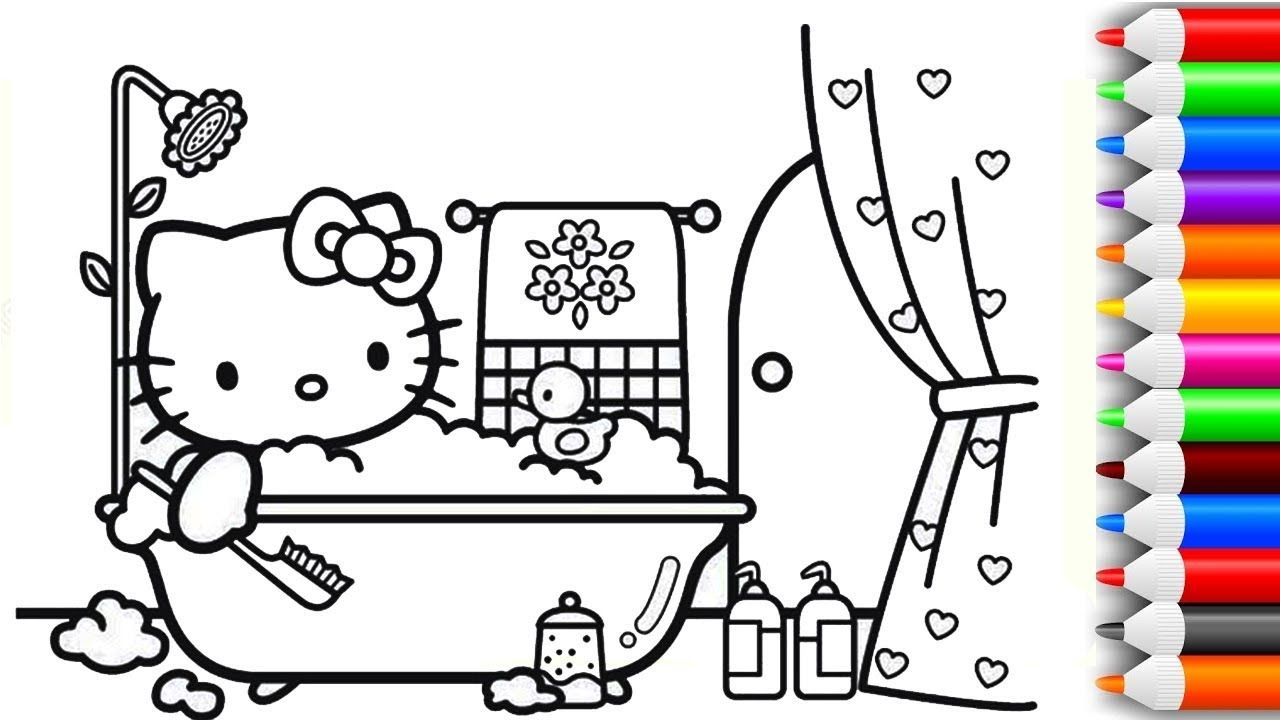 How To Draw And Color Hello Kitty Bath Time Coloring Pages